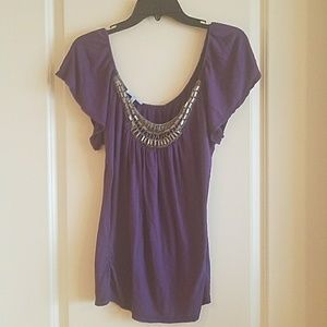 Charlotte Russe purple jeweled shirt size XL